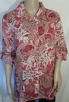 NWT Karen Scott Red Pink Paisley Loose Fit Blouse Size L  #KarenScott #Blouse