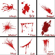 Blood Reference Sheet - How to draw bloody splatters / stains - Drawing Reference Drawing Techniques, Drawing Tutorials, Drawing Tips, Drawing Reference, Art Tutorials, Poses References, Manga Drawing, Drawing Art, Art Tips