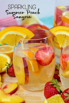 This Sparkling Summer Peach Sangria Recipe is cool, refreshing and the perfect summer drink to make any occasion special! This Sparkling Summer Peach Sangria Recipe is cool, refreshing and the perfect summer drink to make any occasion special! Mango Sangria, Peach Sangria Recipes, Best Sangria Recipe, Tropical Drink Recipes, White Peach Sangria, Sparkling Sangria, Watermelon Sangria, Sangria Drink, Rose Sangria