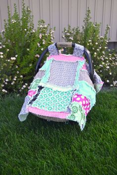 CAR SEAT COVER for Baby Girl in Pink, Turquoise, Gray, Made to Order