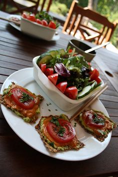 Raw Food by Katrina Rain, via Flickr; sweet flax crackers, guacamole, tomato sauce, and fresh tomatoes