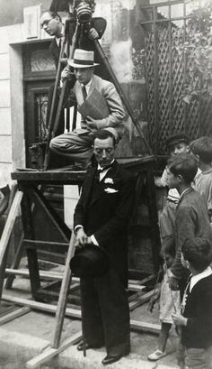 Children watching Buster Keaton while filming in Paris, 1934.