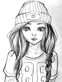 Free Image on Pixabay - Girl, Cap, T Shirt, Drawing, Young Art Drawings Sketches, Easy Drawings, Pencil Drawings, Pencil Art, Shirt Drawing, Line Drawing, Drawing Drawing, Line Art, Cool Art