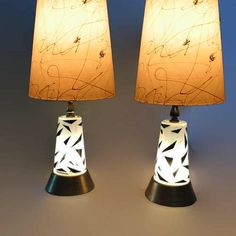 Mid Century Modern Table Lamps Atomic Age Lamp Eames Era Glass Double Light Base Light PAIR Brass & Glass Lamps Bedside Light Up Base by studio180 on Etsy https://www.etsy.com/listing/576020483/mid-century-modern-table-lamps-atomic