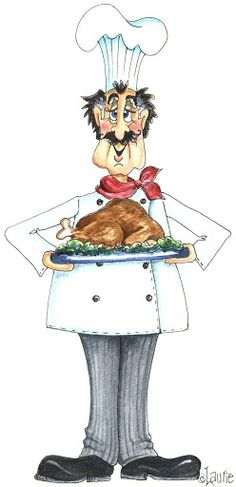 Chef with Thanksgiving Turkey Kitchen Clipart, Cartoon Chicken, Kitchen Art, Chef Kitchen, Kitchen Shop, Kitchen Decor, Creation Photo, Le Chef, Tole Painting