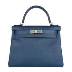 Bleu Thalassa 28cm Hermes Kelly Retourne Blue Epsom Palladium Phw