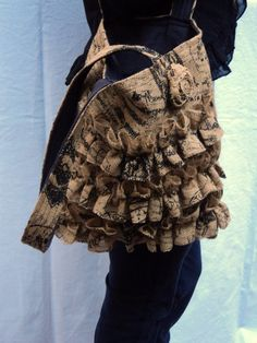 ruffled tote in french script and burlap  on etsy