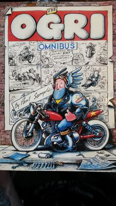 Ogri Omnibus by Paul Sample 1981 inc. fold out poster Motorcycle Posters, Bike Art, Classic Bikes, Bike Stuff, Motorbikes, Gadget, Cycling, Cartoons, Geek