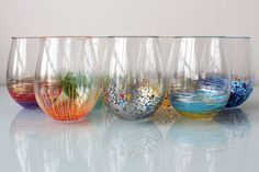 Add a Pop of Color to Your Glassware! | Brit + Co. If you're painting on glass you can bake them which will help set the color . Put them in a cold oven turn the oven on to 350 and bake 30 minutes. Leave in the oven until they are completely cooled.