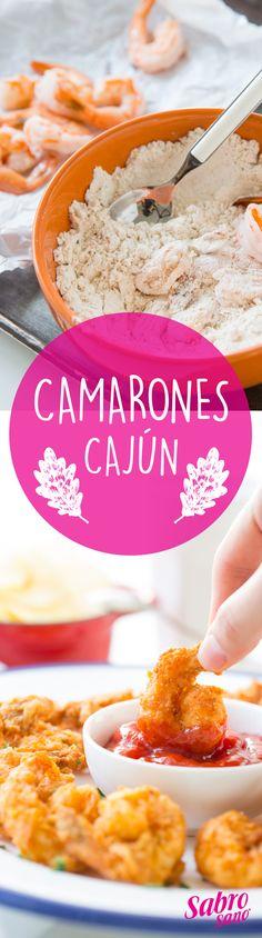 - Camarones cajún -  Ingredientes • 1 Taza Aceite Sabrosano • 15 Camarones con cáscara • 2 Huevos • 1 Taza de harina • 1/3 de taza de leche • 1 Cucharadita de paprika • 1 Cucharadita de pimienta negra • 1 Cucharadita de sal • Salsa picante (opcional) • Catsup