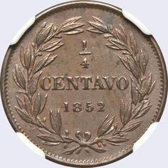 Pieza mv0.25cr-aa02 (Reverso). Moneda de Venezuela. 1/4 Centavo (Peso). Diseño A, Tipo A. Fecha 1852