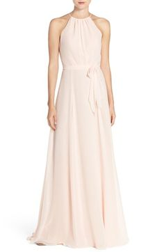 Free shipping and returns on Amsale 'Delaney' Belted A-Line Chiffon Halter Dress at Nordstrom.com. Softly pleated at the high neckline and fitted at the waist, a romantic chiffon gown flatters a multitude of figures in a flowing A-line silhouette. A sash tie completes the pretty style.
