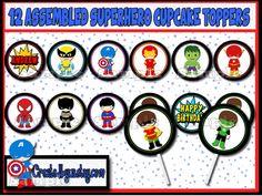 Superhero Cupcake Toppers Super Hero Birthday Party