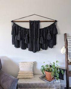 "48"" x 34"" Extra large macramé wall hanging/large woven wall hanging/Yarn wall hanging/yarn tapestry/large wall art/black macrame."