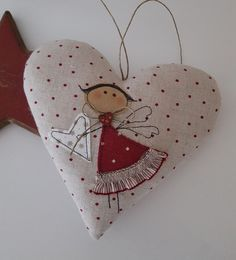 Fabric heart with angel applique Sewn Christmas Ornaments, Christmas Sewing, Felt Christmas, Felt Ornaments, Christmas Projects, Valentine Decorations, Valentine Crafts, Valentines, Tree Decorations
