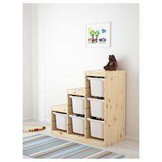 IKEA - TROFAST, Storage combination, pine/white, , A playful and sturdy storage… Ikea Trofast Storage, Toy Room Storage, Toy Storage Boxes, Trofast Regal, Toy Organization, Organizing Toys, Storage Organizers, Kiefer, Arredamento