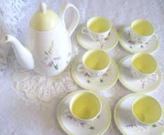 Vintage Foley China Coffee Pot with Six Demitasse Cups and Saucers, Wild Flowers, Yellow Trim by TheWhistlingMan on Etsy