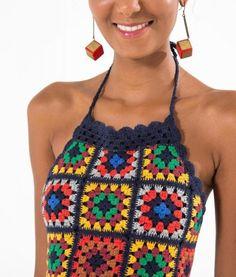 Fabulous Crochet a Little Black Crochet Dress Ideas. Georgeous Crochet a Little Black Crochet Dress Ideas. Crochet Bodycon Dresses, Black Crochet Dress, Crochet Poncho, Crochet Cardigan, Crochet Granny, Crochet Top, Moda Crochet, Crochet Summer Tops, Crochet Squares