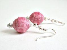 Pretty in Pink PAPER BEAD Pierced Earrings SS  by itsmolly on Etsy