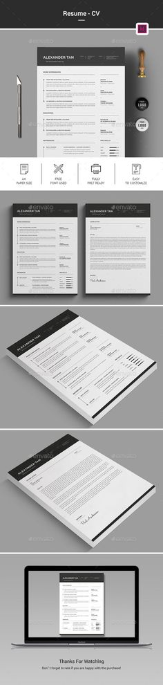 New Professional CV \/ Resume Templates with Cover Letter Design - resume template designs