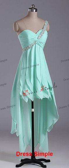 One Shoulder Sweetheart Hi-Lo Bridesmaid Dress Floor Length - Chiffon Bridesmaid Dress / Simple Bridesmaid Dress /Short Prom Dress