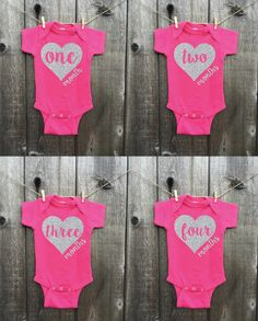 This listing is for a set of 12 onesies with 1-12 months printed directly onto them in glitter. These are NOT stickers and will last throughout