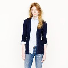 Perfect-fit mixed-tape cardigan on sale at J. Crew for $29.99