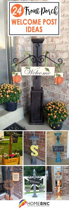 Front Porch Welcome Post Decor Ideas