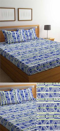 Mafatlal Blue Cotton 144 TC Double Bed Sheet With Pillow Covers #cottonbedsheets #homedecor #homefurnishing #mafatlalbedsheets #doublebedsheets #pillowcovers #cotton #love