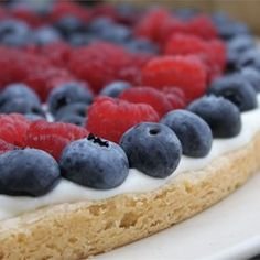 Fruit Pizza - used sugar cookie dough as the base.  Mixed 8oz cream cheese with tub of lite cool whip, 1/4 cup of sugar, 1tsp vanilla and zest of one lemon for topping. Arranged fruit of choice then glazed with 1/4 cup of white sugar, 1/2 cup of orange juice, 1 tbsp corn starch and 1/2tsp lemon juice.  Yum!