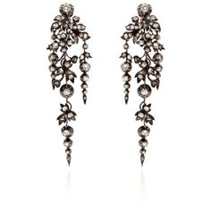 Stephen Russell Antique Silver And Gold Diamond Earrings Circa 1860 ($65,000) ❤ liked on Polyvore featuring jewelry, earrings, accessories, punk, punk rock earrings, diamond jewellery, diamond earring jewelry, stephen russell and antique diamond jewelry