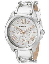 Fossil Women's AM4618 Cecile Multifunction Stainless Steel and Leather Watch - Silver Tone and White