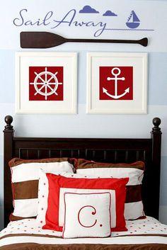 little sailor room Pirate Bedroom, Kids Bedroom, Boys Nautical Bedroom, Boys Room Decor, Boy Room, Beach House Decor, Diy Home Decor, Sailor Room, Marine Style