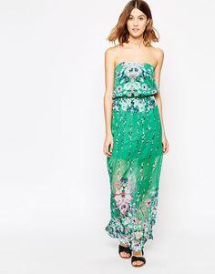 Vila Bandeau Dress With Floral Placement