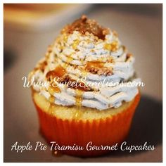 Apple Pie Tiramisu Gourmet Cupcake : Vanilla cake stuffed to the max with an amaretto apple filling under swirls of our Tiramisu butttercream, an apple dollop, caramel drizzle and streusel topping. Handcrafted with the finest ingredients and baked fresh daily to ensure the utmost quality. Visit www.SweetSanctions.com *Sweet Sanctions delivers our gourmet cupcakes, cakes, designer cookies and cakepops throughout Central Pennsylvania, including Berks, Lebanon, Lancaster, and Dauphin Counties.