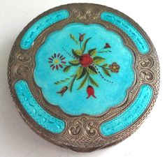 Vintage Turquoise Blue and Sterling Silver #Compact