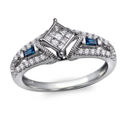 Cherished Promise Collection™ 1/5 CT. T.W. Quad Princess-Cut Diamond and Blue Sapphire Ring in 10K White Gold