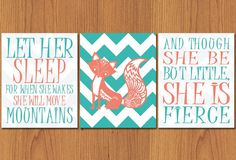 Let Her Sleep For When She Wakes And Though She Be But Little She is Fierce Unique Fox Nursery Wall Art Set of 3 Coral Teal 8x10 (60)