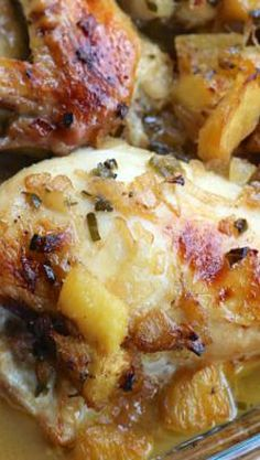 Roasted Pineapple Rum Chicken Recipe ~ Tender chicken breasts roasted in a luscious tropical sauce.