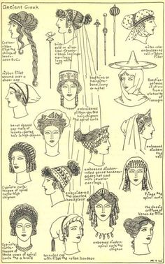 Women's hairstyles and accessories throughout ancient Greek history. Women's hairstyles and accessories throughout ancient Greek history. Ancient Greece Clothing, Ancient Greece Fashion, Ancient Roman Clothing, Greek History, Ancient History, Art History, Roman History, European History, American History