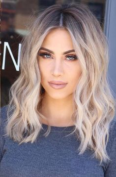 Medium Blonde Hairstyle - 40 Beautiful Blonde Balayage Looks - The Trending Hairstyle Medium Hair Cuts, Medium Hair Styles, Curly Hair Styles, Hairstyles For Medium Length Hair With Bangs, Soft Curls For Medium Hair, Short To Medium Haircuts, Short Blonde Haircuts, Haircut Medium, Short Wavy