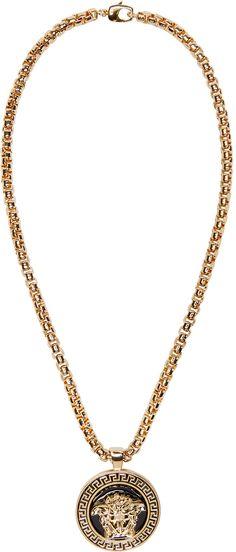 Versace - Black & Gold Medusa Medalion Necklace