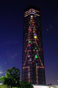 Christmas in Chiba Port Tower in Chiba, Japan. How Cool!