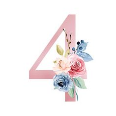 Number four with watercolor flowers roses and leaf. Perfectly for wedding invitation, greeting card, logo, poster and other floral design. Isolated on white background.: comprar esta ilustración de stock y explorar ilustraciones similares e Fancy Letters, Letters And Numbers, Adobe, Paintings I Love, 40th Birthday, Cute Drawings, Watercolor Flowers, Art Decor, Backdrops