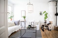 A relaxed Swedish space with floaty linens
