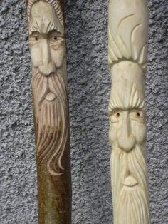 Sticks Gallery - Wood carvings done by my dad. #wood #carvings #greenman #walkingsticks
