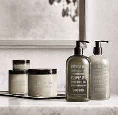 RH's French Oak Soap & Lotion Collection:Custom blended from the finest aromatics, our European Scent soaps and lotions gently clean and moisturize. Bottle Packaging, Cosmetic Packaging, Soap Packaging, Neutrogena, Timeless Bathroom, Cosmetic Design, Purple Iris, French Oak, Packaging Design Inspiration