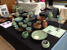 Karen's pottery sale booth, May 2014