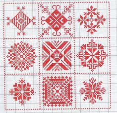 Wouldn't the individual squares make nice scissor fob designs. Gallery.ru / Фото #169 - biscornius punto de cruz - anavalles