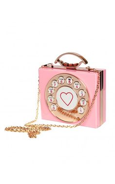 Pinup Girl Clothing - Retro Rotary Phone Clutch in Pink | Pinup Girl Clothing